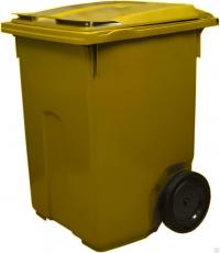 Мусорный контейнер на колёсах (370 л) желтый
